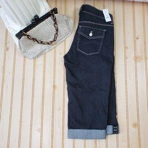 NWT WHBM 00 Noir Black Capri Cropped Jeans